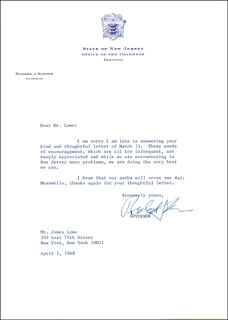 GOVERNOR RICHARD J. HUGHES - TYPED LETTER SIGNED 04/01/1968