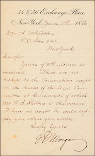 MAJOR GENERAL EDWIN D. MORGAN - AUTOGRAPH LETTER SIGNED 06/01/1876