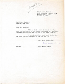 EDGAR ANSEL MOWRER - TYPED LETTER SIGNED 10/02/1944