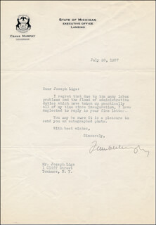 Autographs: ASSOCIATE JUSTICE FRANK MURPHY - TYPED LETTER SIGNED 07/20/1937