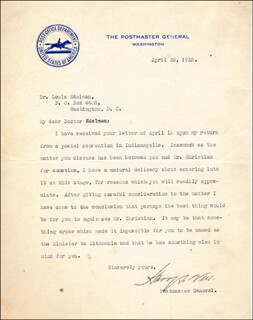 HARRY S. NEW - TYPED LETTER SIGNED 04/20/1923