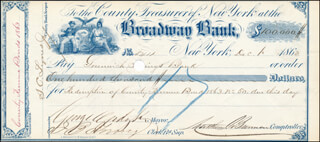 MAYOR GEORGE OPDYKE - AUTOGRAPHED SIGNED CHECK 12/01/1863 CO-SIGNED BY: MATTHEW T. BRENNAN, CLINTON GILBERT, S. C. LYNES JR.