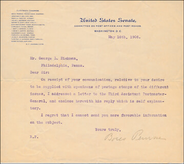 BOIES PENROSE - TYPED LETTER SIGNED 05/16/1906