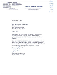 CHARLES H. PERCY - TYPED LETTER SIGNED 01/17/1968
