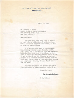Autographs: VICE PRESIDENT HENRY A. WALLACE - TYPED LETTER SIGNED 04/13/1942