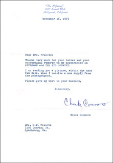 CHUCK CONNORS - TYPED LETTER SIGNED 11/15/1959