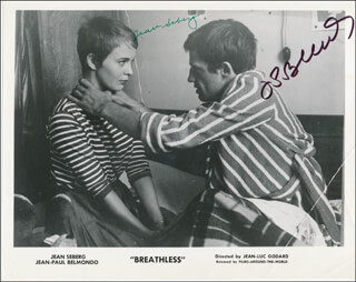 BREATHLESS MOVIE CAST - AUTOGRAPHED SIGNED PHOTOGRAPH CO-SIGNED BY: JEAN-PAUL BELMONDO, JEAN SEBERG