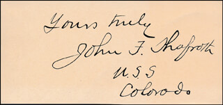 JOHN F. SHAFROTH - AUTOGRAPH SENTIMENT SIGNED