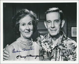 Autographs: AFTERMASH TV CAST - PHOTOGRAPH SIGNED CO-SIGNED BY: BARBARA TOWNSEND, HARRY MORGAN