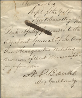MAJOR GENERAL NATHANIEL P. BANKS - ENDORSEMENT SIGNED 08/22/1864