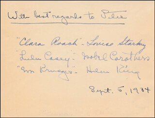 CLARA, LU, & EM RADIO CAST - AUTOGRAPH NOTE SIGNED 09/05/1934 CO-SIGNED BY: LOUISE STARKEY, ISOBEL CAROTHERS, HELEN KING