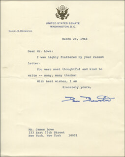 Autographs: DANIEL BREWSTER - TYPED LETTER SIGNED 03/28/1968