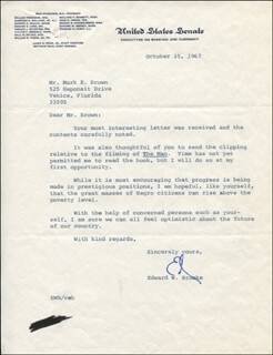 Autographs: EDWARD W. BROOKE III - TYPED LETTER SIGNED 10/25/1967