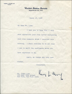 HARRY F. BYRD JR. - TYPED LETTER SIGNED 03/18/1968
