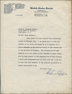 GOVERNOR ARTHUR CAPPER - TYPED LETTER SIGNED 02/18/1939