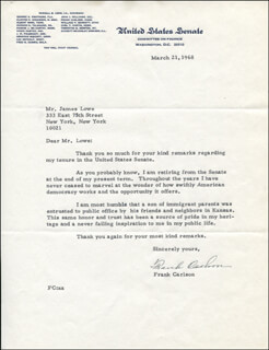 FRANK CARLSON - TYPED LETTER SIGNED 03/21/1968