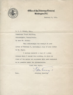 Autographs: HOMER S. CUMMINGS - TYPED LETTER SIGNED 02/08/1934