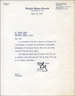 ROBERT J. BOB DOLE - TYPED LETTER SIGNED 03/29/1972