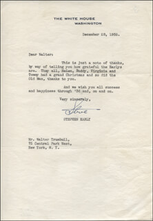 STEPHEN T. EARLY - TYPED LETTER SIGNED 12/28/1935