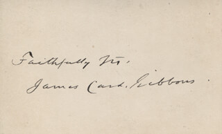 Autographs: JAMES CARDINAL GIBBONS - AUTOGRAPH SENTIMENT ON CALLING CARD SIGNED