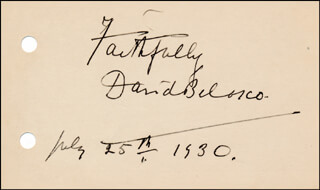 DAVID BELASCO - AUTOGRAPH SENTIMENT SIGNED 07/25/1930
