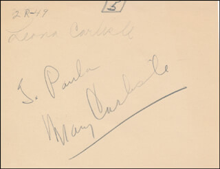 MARY CARLISLE - INSCRIBED SIGNATURE
