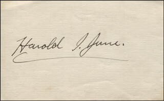 CAPTAIN HAROLD I. JUNE - AUTOGRAPH