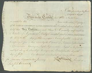 Autographs: ROBERT MORRIS - STOCK CERTIFICATE SIGNED 07/08/1797 CO-SIGNED BY: JAMES MARSHALL