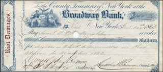 Autographs: MAYOR GEORGE OPDYKE - CHECK SIGNED 12/31/1863 CO-SIGNED BY: MATTHEW T. BRENNAN, S. C. LYNES JR.