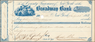 MAYOR GEORGE OPDYKE - AUTOGRAPHED SIGNED CHECK 07/23/1863 CO-SIGNED BY: MATTHEW T. BRENNAN