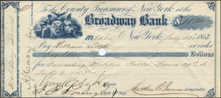 MAYOR GEORGE OPDYKE - AUTOGRAPHED SIGNED CHECK 07/23/1863
