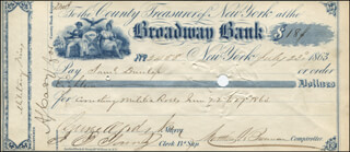 MAYOR GEORGE OPDYKE - AUTOGRAPHED SIGNED CHECK 07/23/1863 CO-SIGNED BY: MATTHEW T. BRENNAN, S. C. LYNES JR.