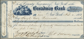 MAYOR GEORGE OPDYKE - AUTOGRAPHED SIGNED CHECK 02/01/1862 CO-SIGNED BY: S. C. LYNES JR., DANIEL DEVLIN