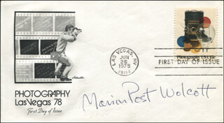 MARION POST WOLCOTT - FIRST DAY COVER SIGNED