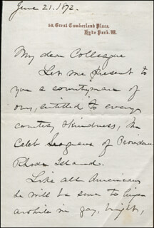 MAJOR GENERAL ROBERT C. SCHENCK - AUTOGRAPH LETTER SIGNED 06/21/1872