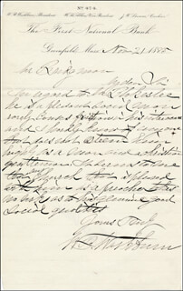 WILLIAM B. WASHBURN - AUTOGRAPH LETTER SIGNED 11/21/1885