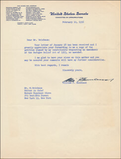 WILLIAM F. KNOWLAND - TYPED LETTER SIGNED 02/10/1956