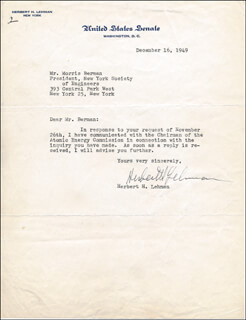 GOVERNOR HERBERT H. LEHMAN - TYPED LETTER SIGNED 12/16/1949