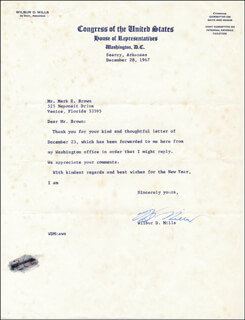 WILBUR D. MILLS - TYPED LETTER SIGNED 12/28/1967