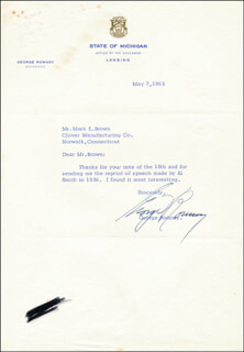 Autographs: GEORGE W. ROMNEY - TYPED LETTER SIGNED 05/07/1963