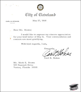 MAYOR CARL B. STOKES - TYPED LETTER SIGNED 05/27/1968
