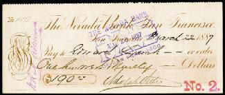 Autographs: ADOLPH H. SUTRO - CHECK SIGNED 03/22/1887