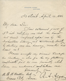 RUSSELL A. ALGER - AUTOGRAPH LETTER SIGNED 04/10/1886