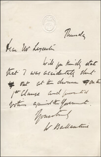 WILLIAM BALLANTINE - AUTOGRAPH LETTER SIGNED