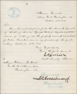REAR ADMIRAL LOUIS M. GOLDSBOROUGH - ENDORSEMENT SIGNED 10/03/1872 CO-SIGNED BY: CAPTAIN GEORGE W. COLLIER