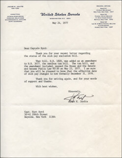 JACOB K. JAVITS - TYPED LETTER SIGNED 05/24/1977