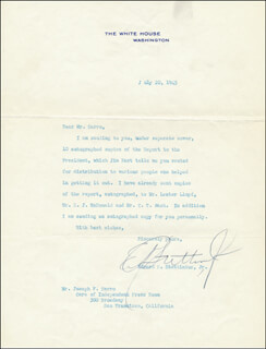 EDWARD R. STETTINIUS, JR. - TYPED LETTER SIGNED 07/20/1945
