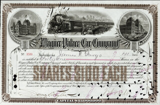 Autographs: JAMES C. FARGO - STOCK CERTIFICATE SIGNED 04/20/1891 CO-SIGNED BY: W. S. WEBB, JAMES D. TAYLOR