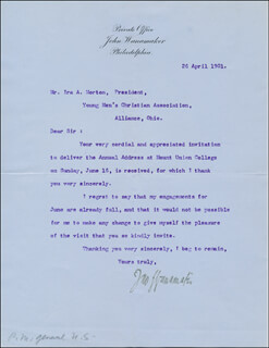 Autographs: JOHN WANAMAKER - TYPED LETTER SIGNED 04/26/1901