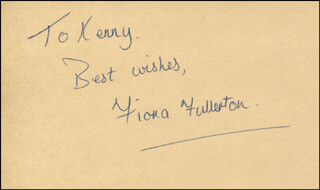 FIONA FULLERTON - AUTOGRAPH NOTE SIGNED